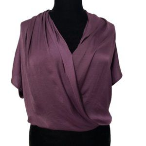 Vince Eggplant Purple Twisted Front Draped Blouse